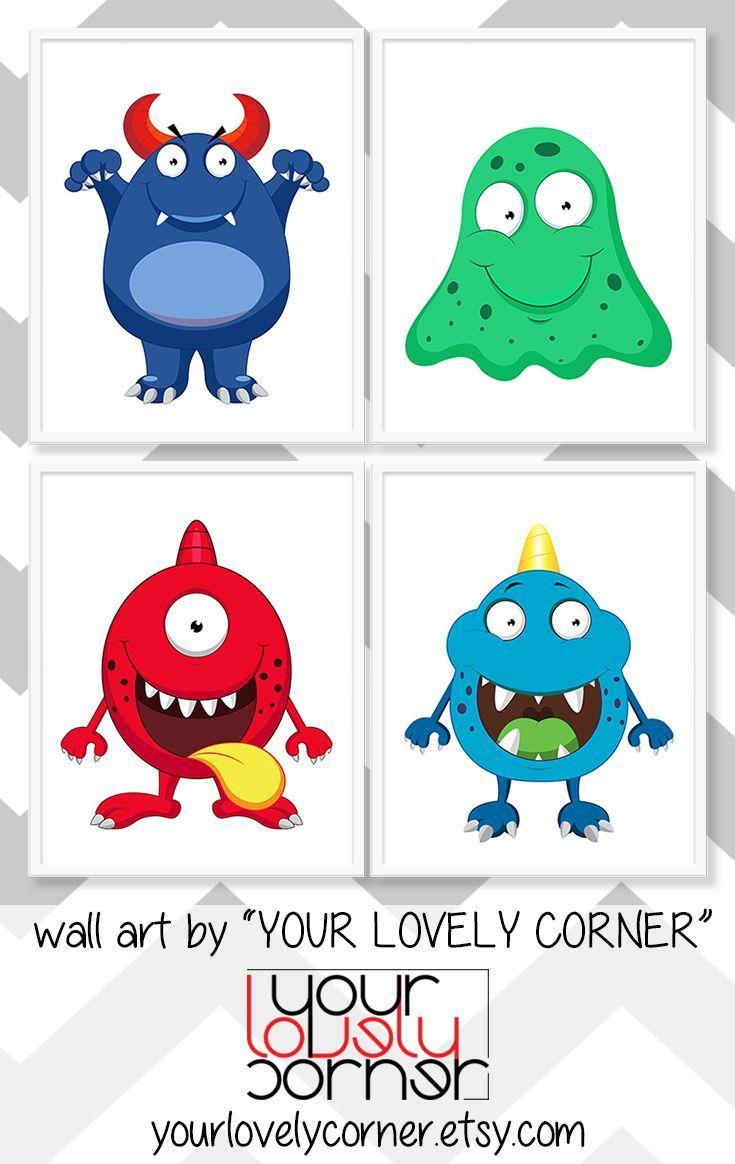 Blue Monster Nursery Wall Art Cute Monster Kids Wall Art Little Monster Baby Boy Art Funny Monster Print For Kids Boys Room Wall