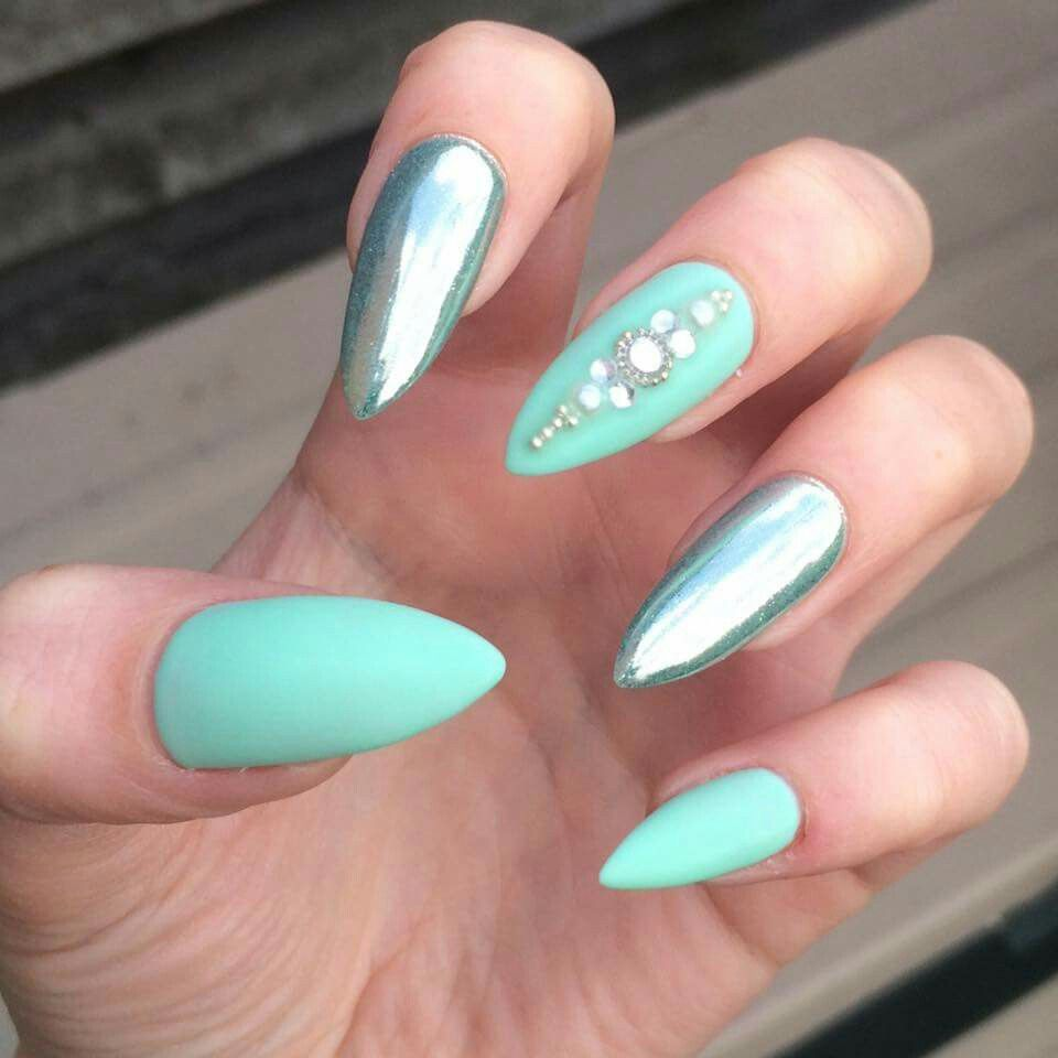 Turquoise and Chrome Nails | Nails | Pinterest