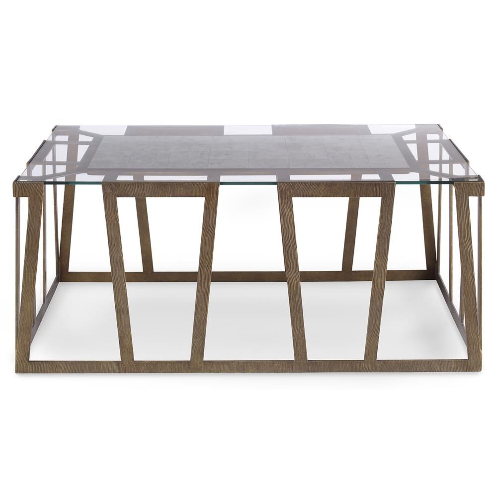 Travis Modern Classic Flat Gold Rectangle Coffee Table