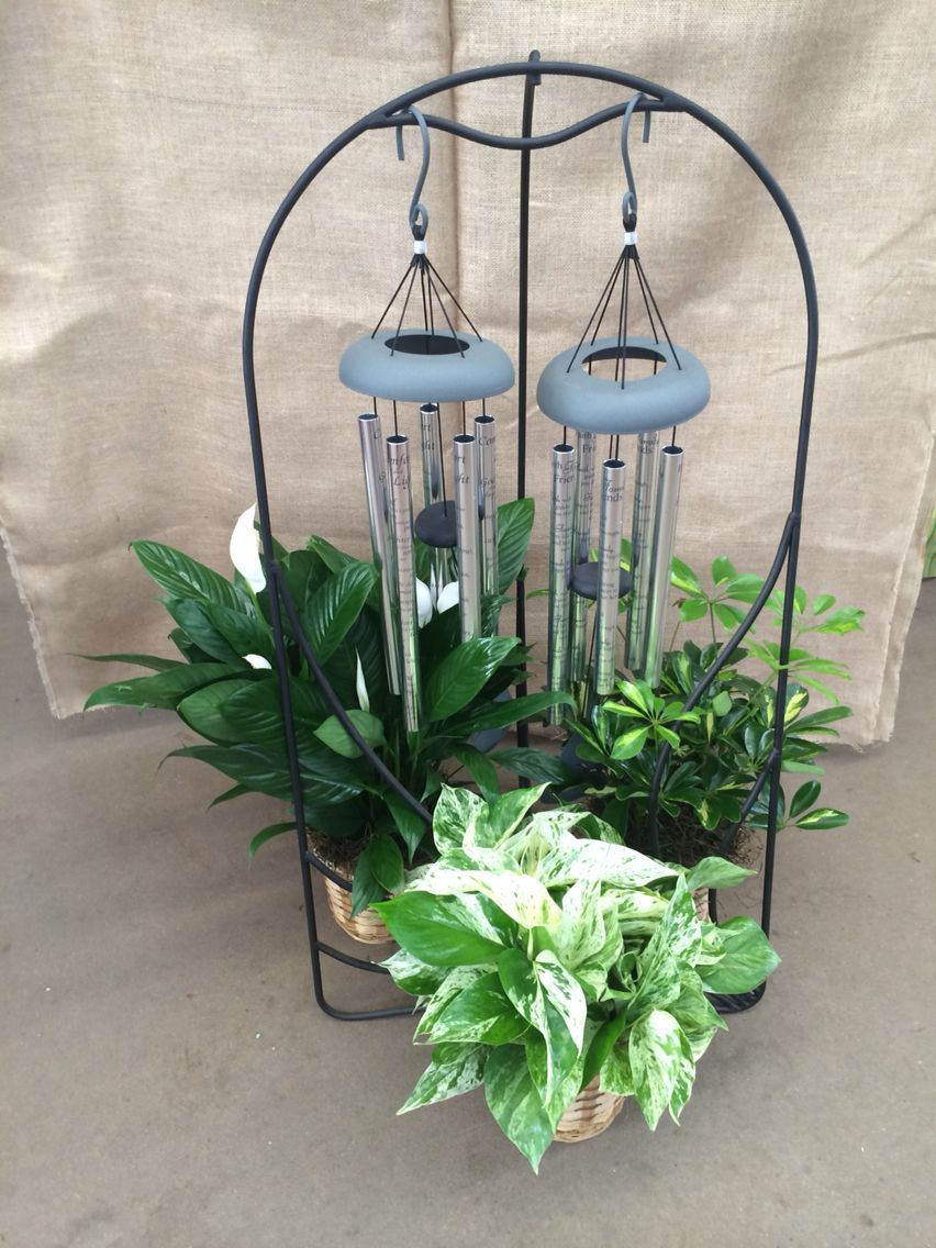 Sympathy tribute with windchimes and houseplants for