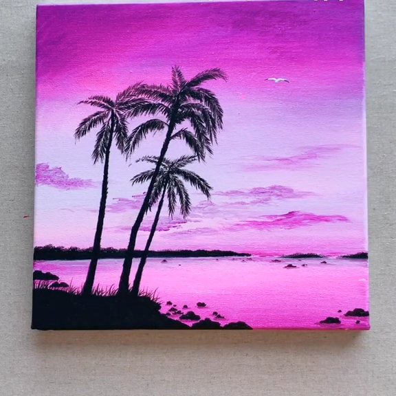 Beach Sunset Acrylic Painting for Beginners#acrylic #beach #beginners #painting #sunset