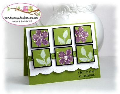 "handmade card ... inchies in a six grid pattern ... use a punch to get the size and the size for the mats ... ""Black Magic"" technique up-date ... stamped solid flowers from Secret Garden set ... colored with inks ... highlighted with dots and lines done with white gel pen ... beautiful look in olive, purple and white ... Stampin' Up!"