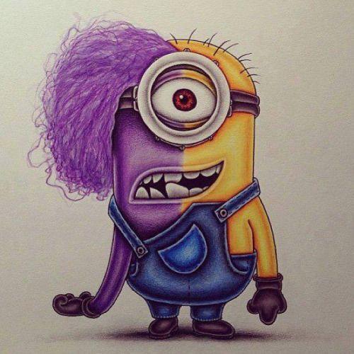 Half Yellow Half Purple Minion Giallini Dibujos Bonitos Dibujos De Personajes De Disney Dibujos De Disney A Lapiz