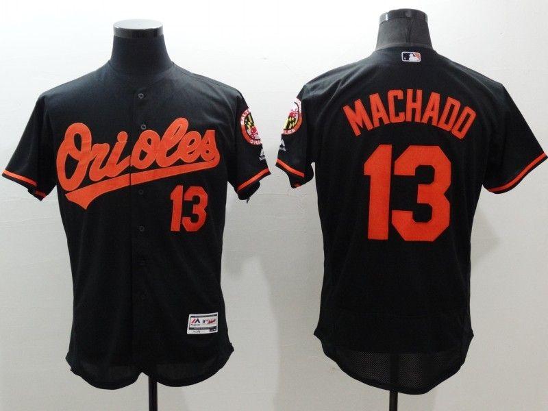 2e2d2a70186 Majestic Baltimore Orioles  13 Manny Machado Black Flexbase Collection  Jersey