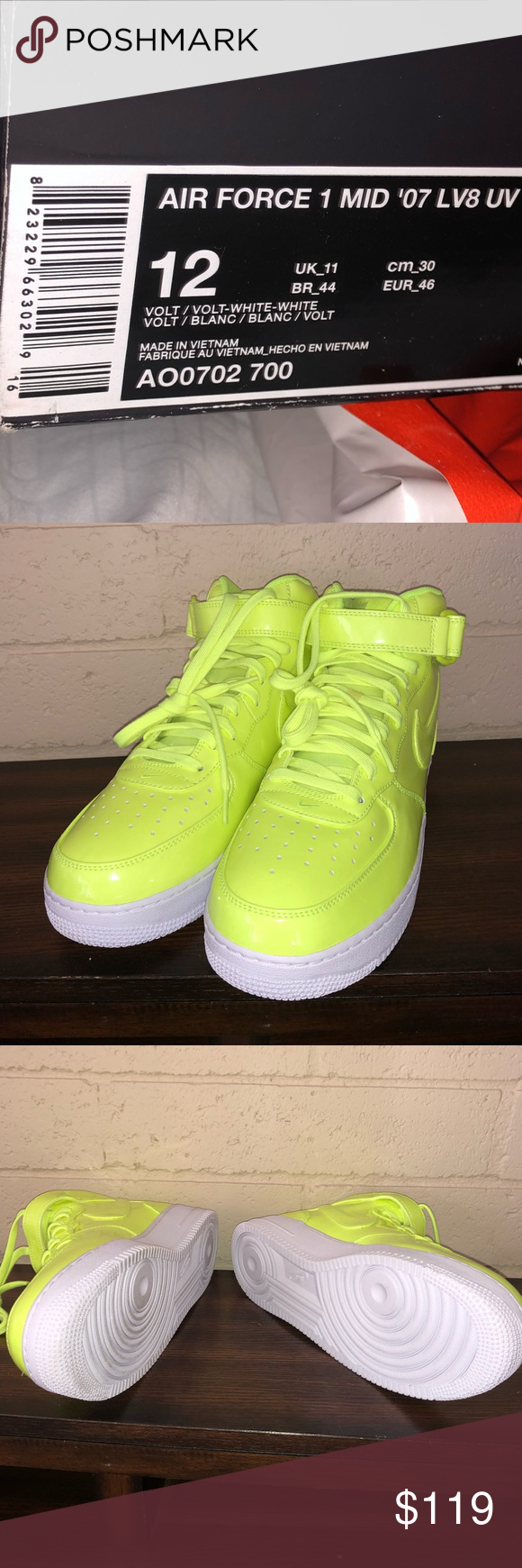 the latest 84630 5997c Nike Nike Air Force 1 Mid  07 LV8 UV Volt White Men s Shoes Sz 12 (AO0702  700) Condition is New with box. Nike Shoes Sneakers