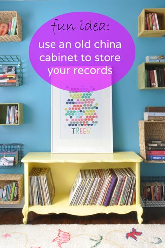 Turn an old china cabinet into a cute #record #storage cabinet via http://lifeovereasy.com/ #DIY #repurpose #makeover