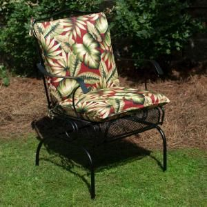 Awesome Plantation Patterns Hampton Bay Chili Leaves Mid Back Outdoor Chair Cushion  Available At The Home Depot