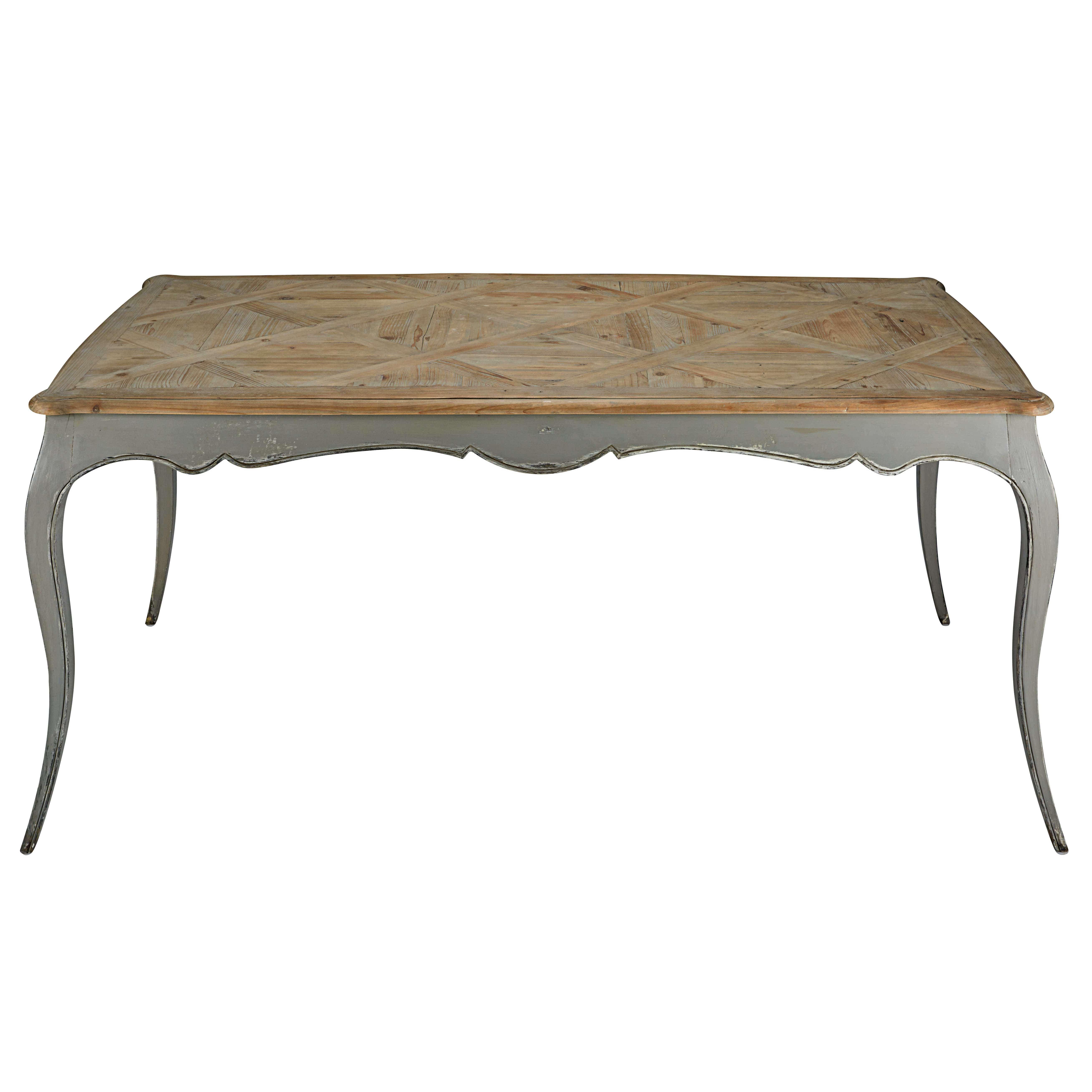 Esstisch aus grauem Pappelholz und recyceltem Tannenholz, L. 185 cm ...