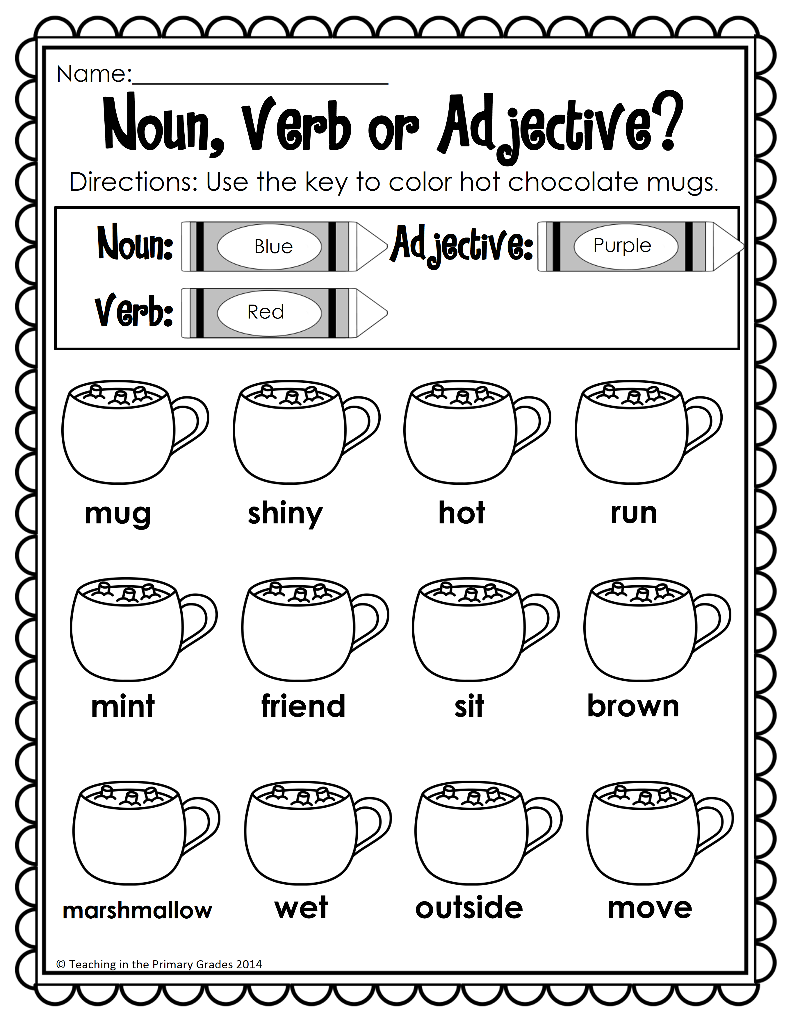 small resolution of Winter First Grade Activities - Your first graders will love to review math  and literacy concepts with…   Nouns verbs adjectives