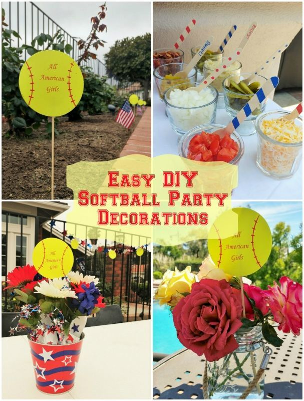 Easy DIY Softball Party Decorations  Softball party decorations