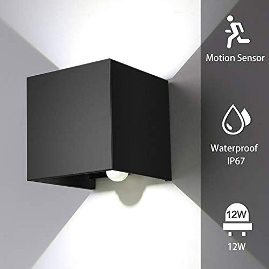 Encoft 12w Wandleuchte Sensor Bewegungsmelder Aussen Innen Led Wandbeleuchtung Schwarz Ip67 Wasserdicht Fur G In 2020 Wandbeleuchtung Beleuchtung Bewegungsmelder Aussen