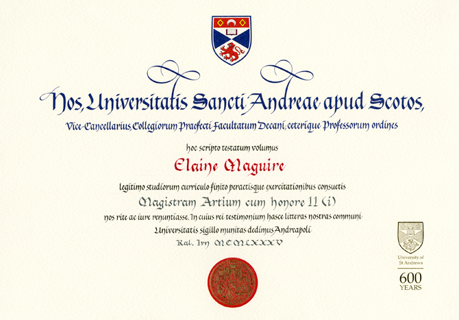 Latin degree certificate from University of St Andrews. More fancy ...