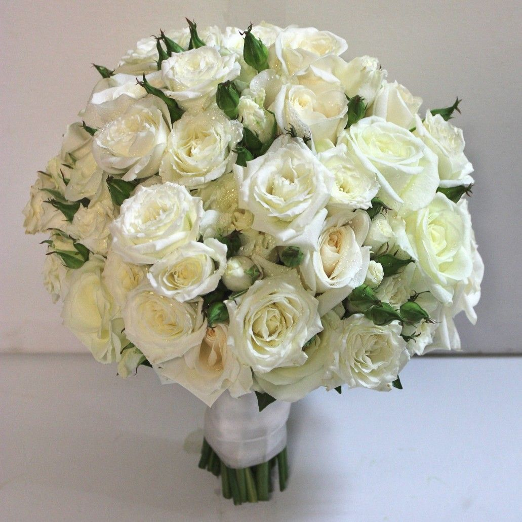 Classic White Roses & Spray Roses Wedding Bouquet