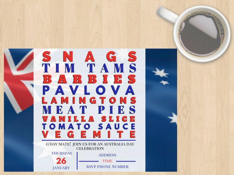 Digital Download Australia Day Invitation, Lunch, Dinner, Get - invitation for a get together