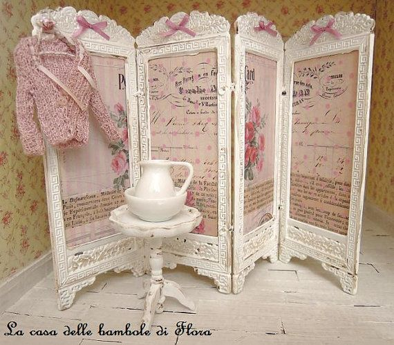 French Shabby chic room divider screen  1/12 by FloraDollhouse
