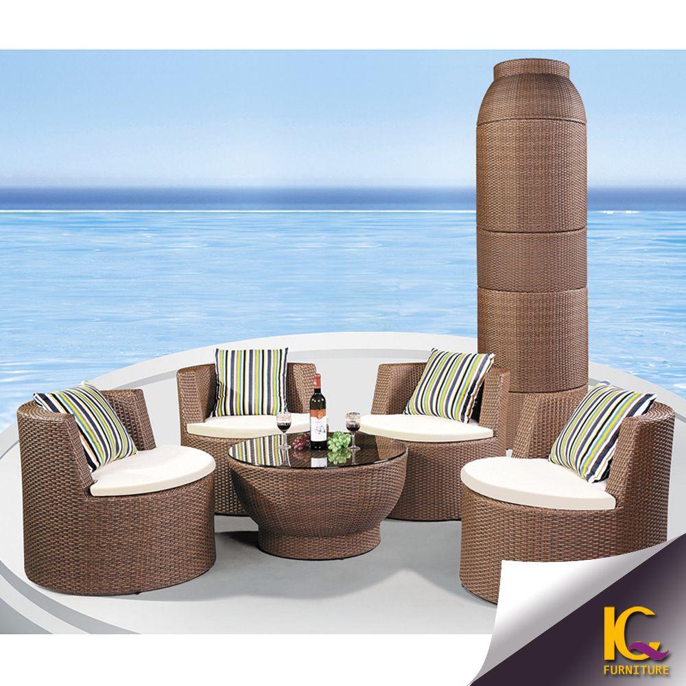 Jardín tesoros al aire libre muebles de ratán sintético sofá del ...