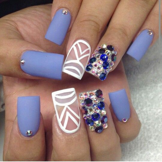 Lavender, white, and rhinestones. Negative space and matte nail design.  Love these - Khloe Kardashian Nails Nails Pinterest Kardashian Nails