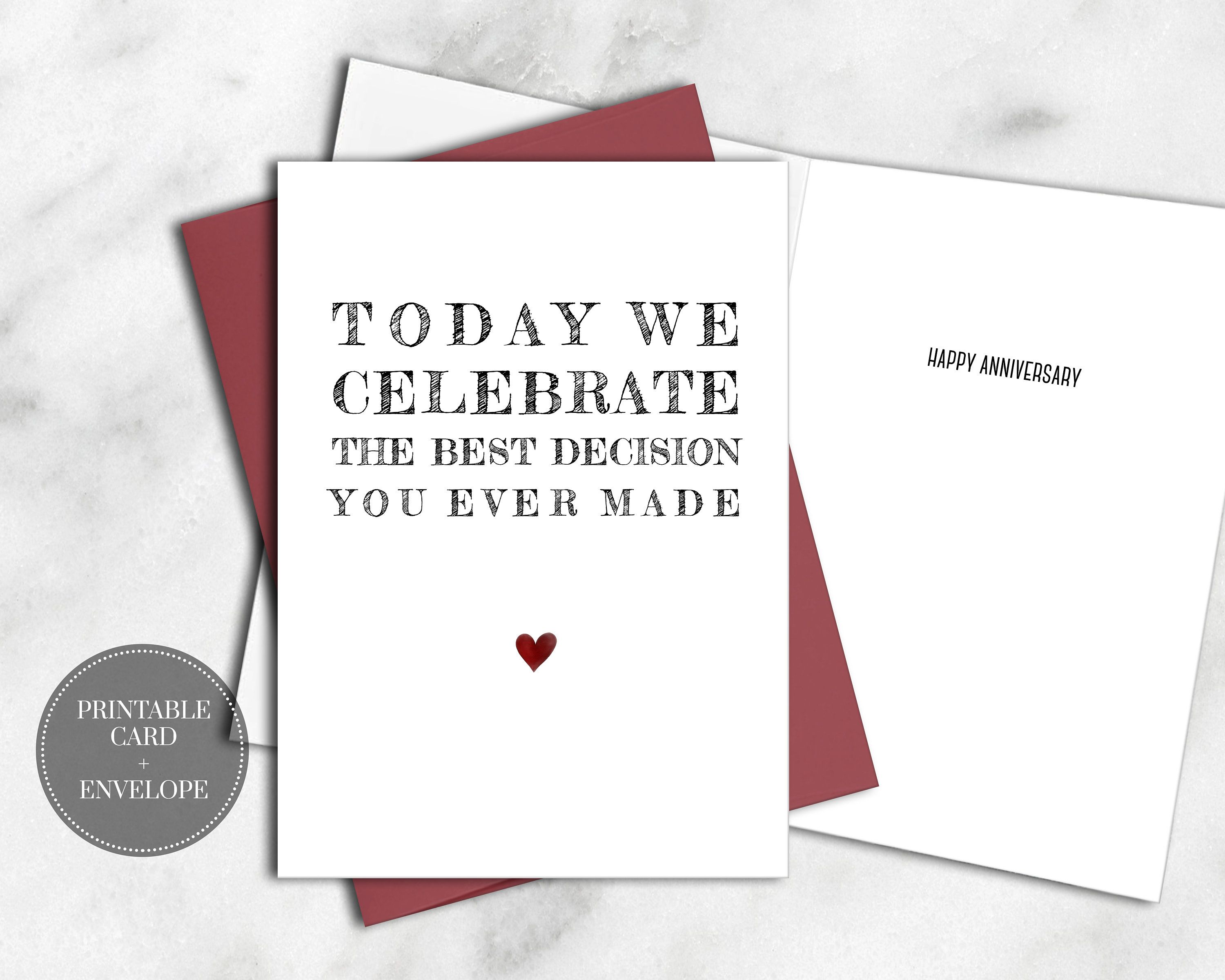 Printable Funny Anniversary Card For Him Husband Instant Download Best Decision Funny Anniversary Cards Printable Funny Anniversary Cards Anniversary Cards For Him