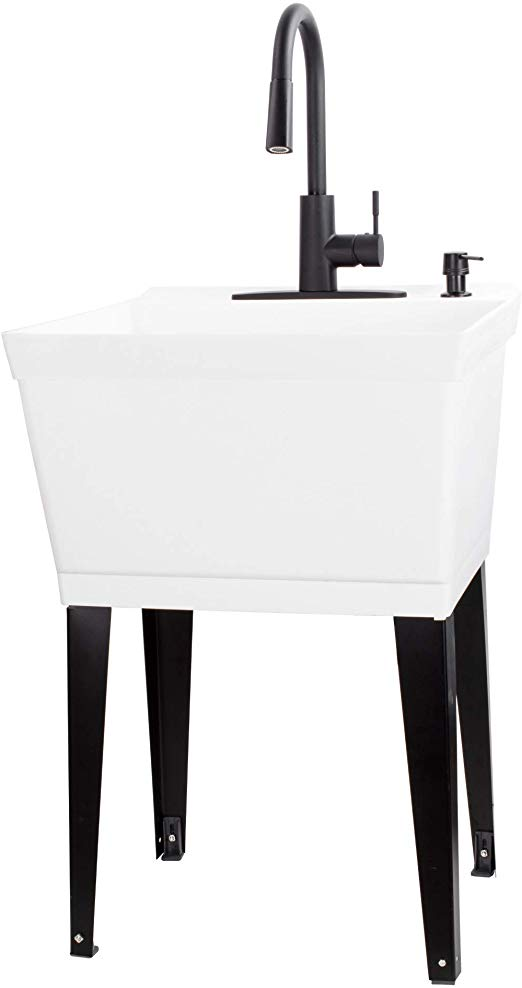 Vetta White Utility Sink Laundry Tub With High Arc Black Kitchen