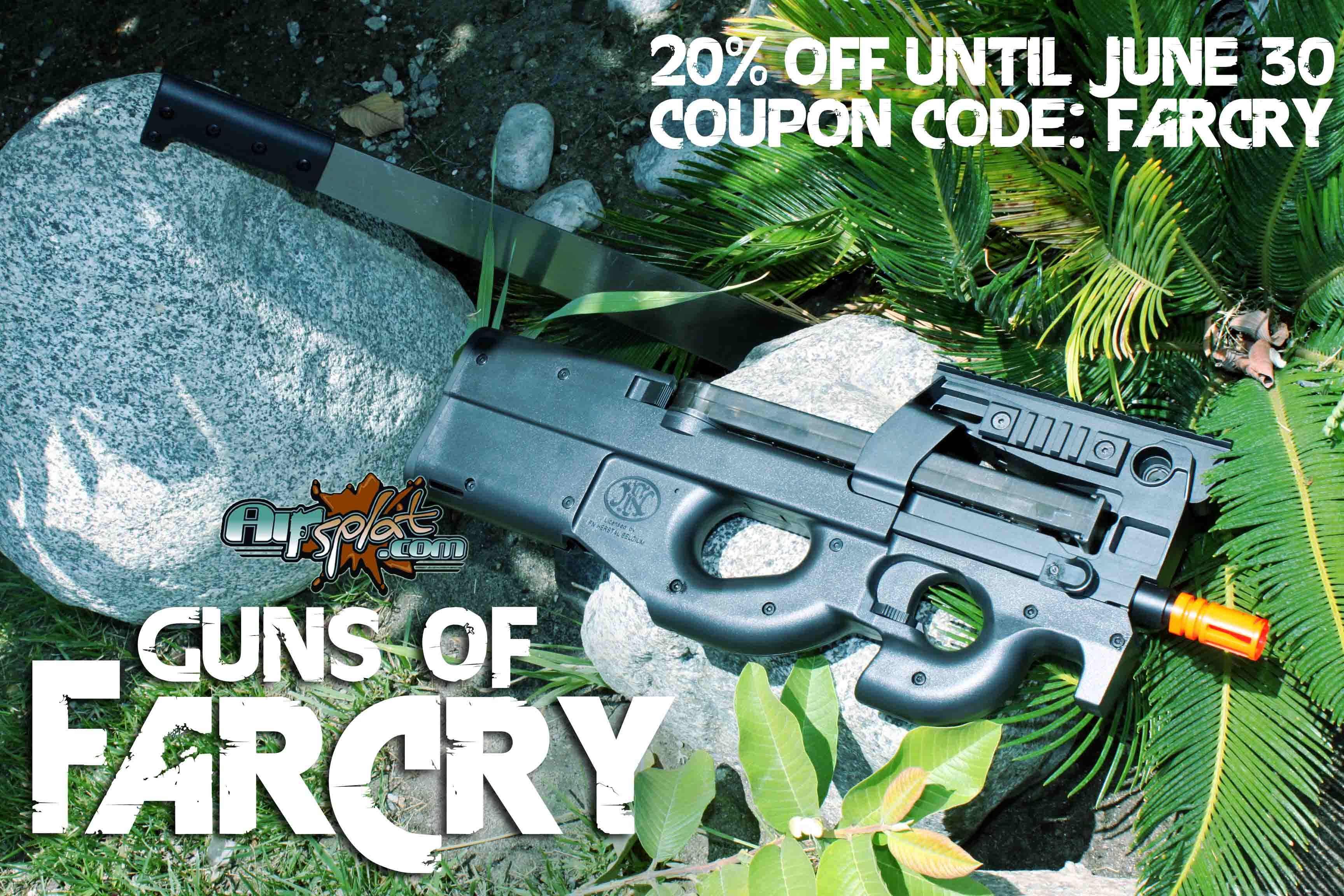 Guns of FarCry are now available at AirSplat.com!! Take 20% off with coupon code 'FARCRY' http://www.airsplat.com/index.asp?FSCat=75  FN P90 Tactical Airsoft AEG Rifle AG76 $219.99 http://www.airsplat.com/Itemdesc.asp?ic=ERM-FN-P90-AG76