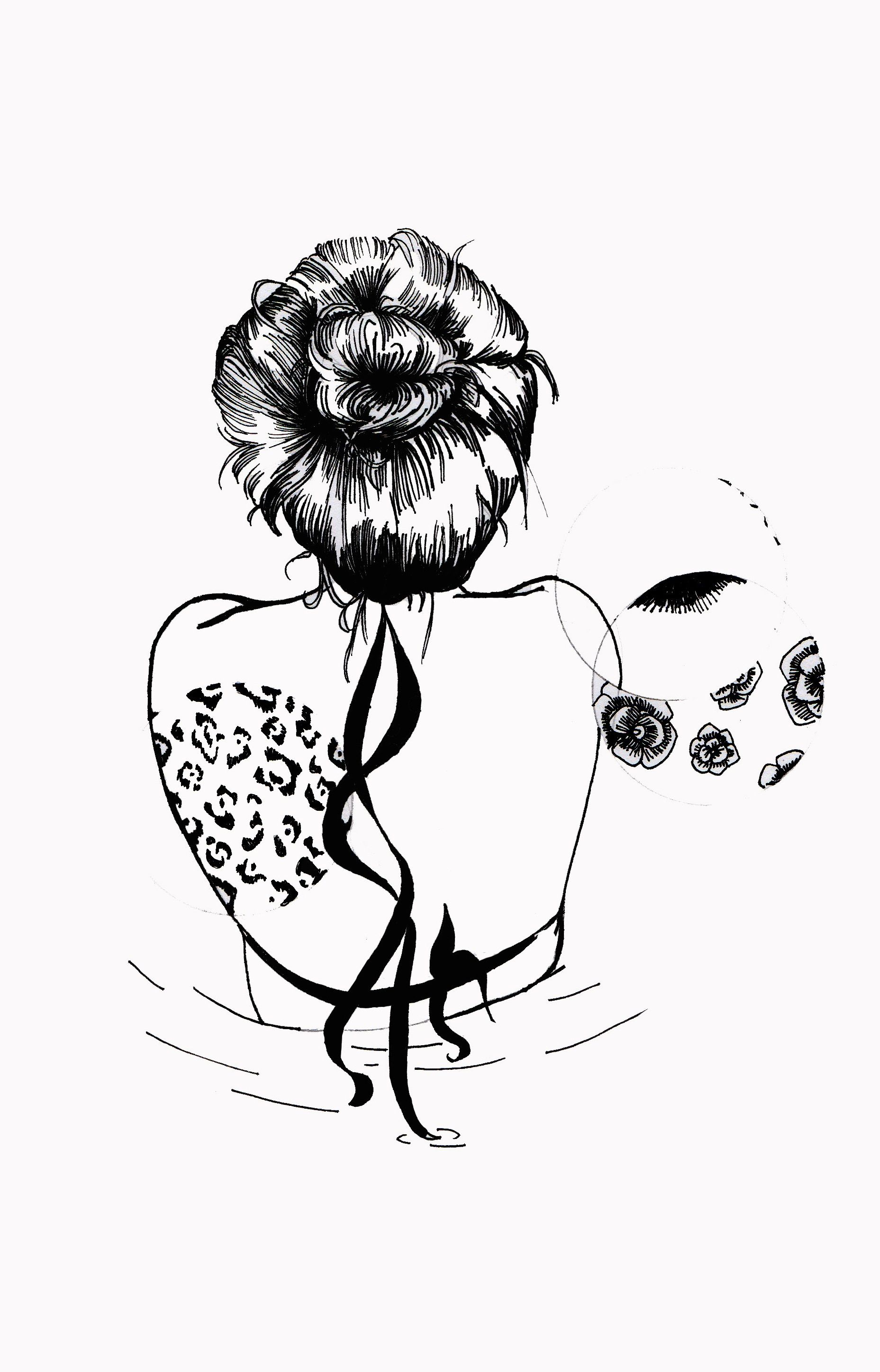 4c61ce2f565 WHAT THE WATER GAVE ME.  print  animal  flower  flores  girl  hair  water   illustration  ilustracion  draw  fashion  black