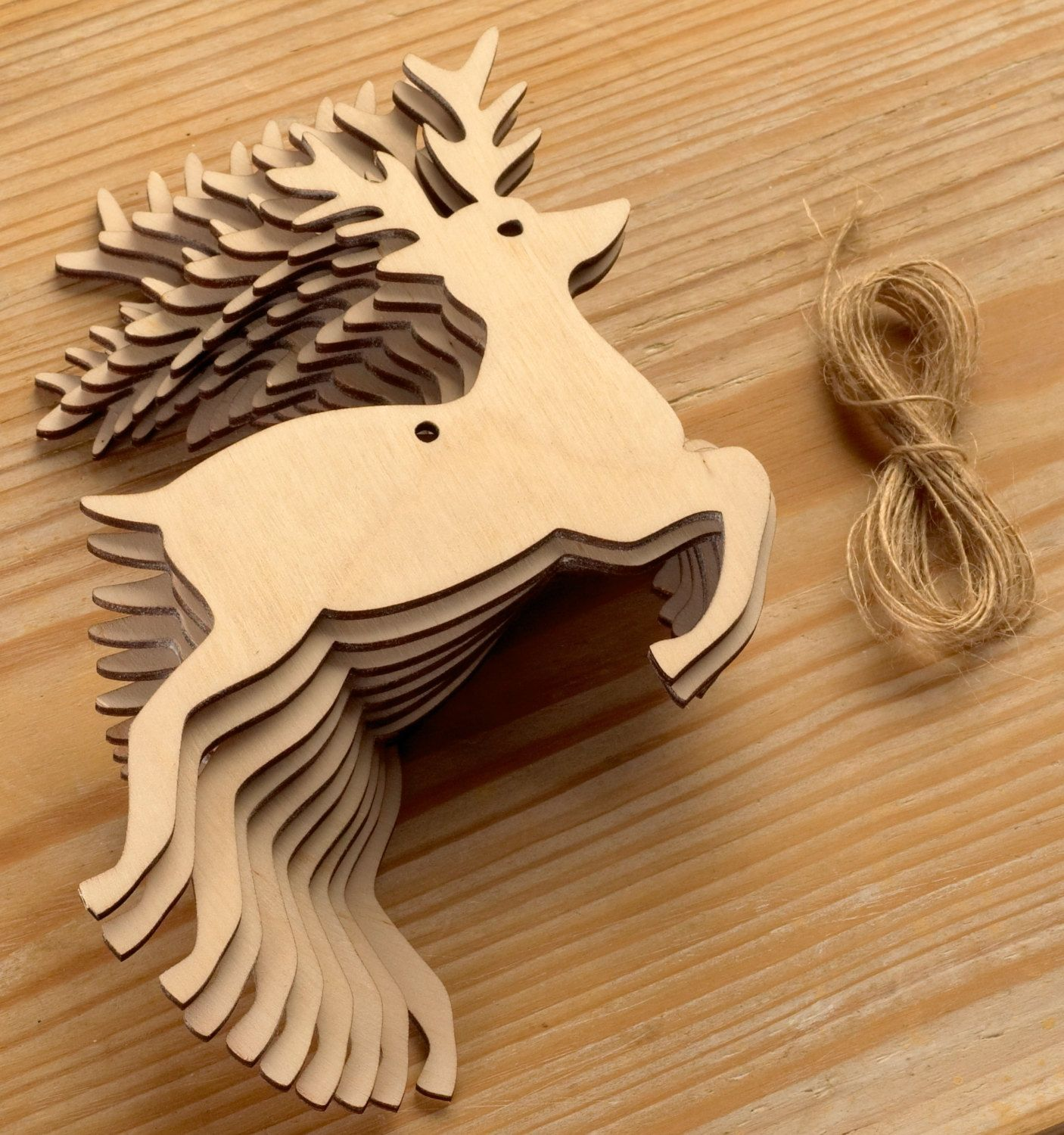 Wooden christmas decoration stag christmas tree ornament gift tag