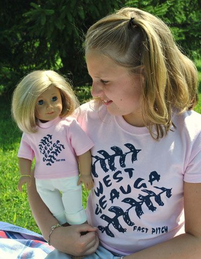 Custom Matching Doll T-shirts are easy and free with the extra space on your custom transfer.  Just apply with a heat press