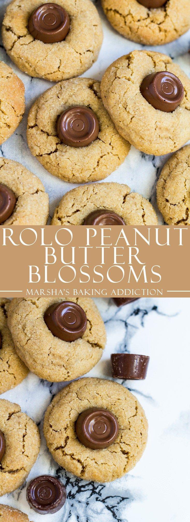 Rolo Peanut Butter Blossoms | marshasbakingaddiction.com @marshasbakeblog