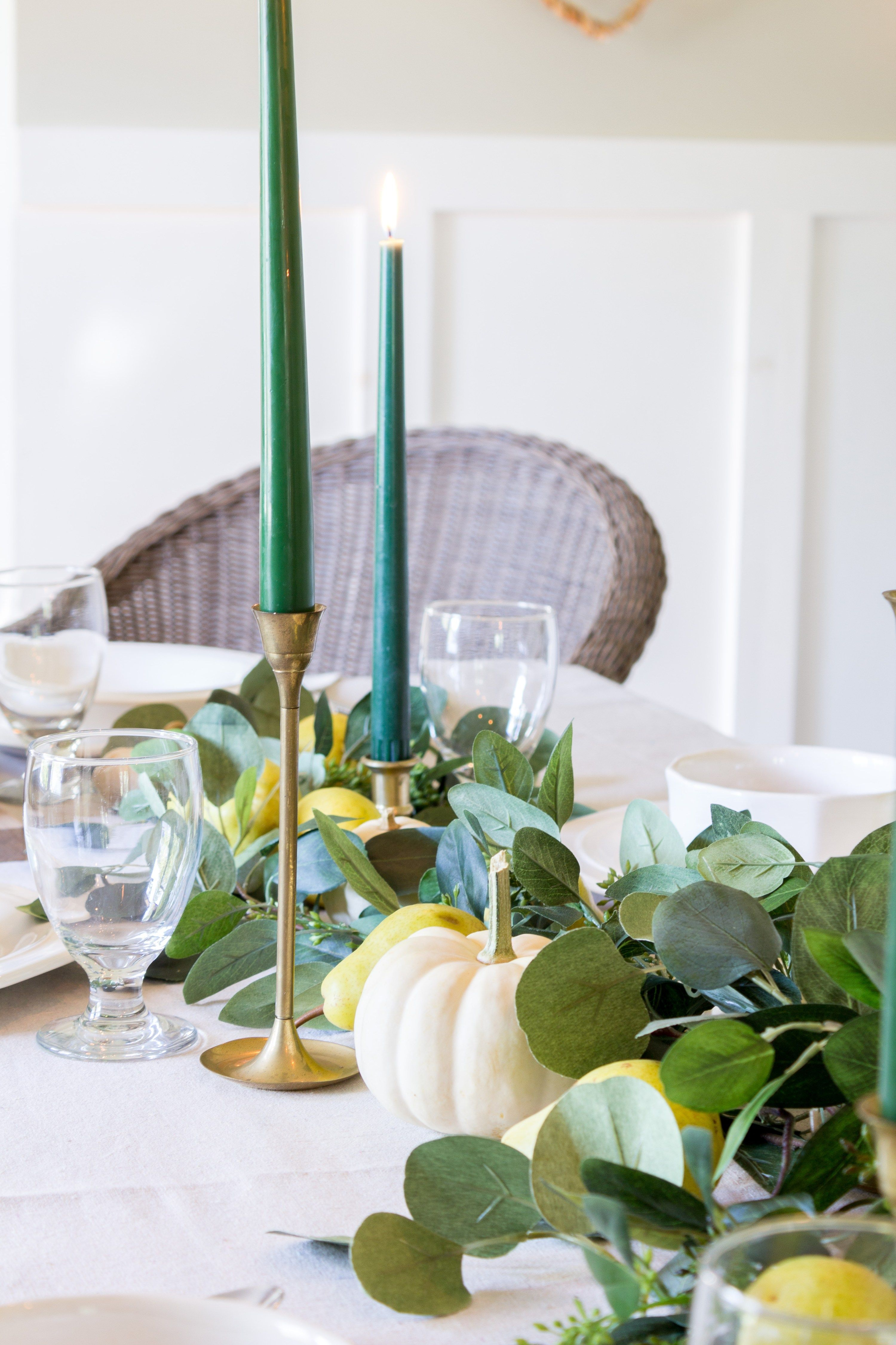 Pears, White Pumpkins and Eucalyptus Table-scape #thanksgivingtablesettings