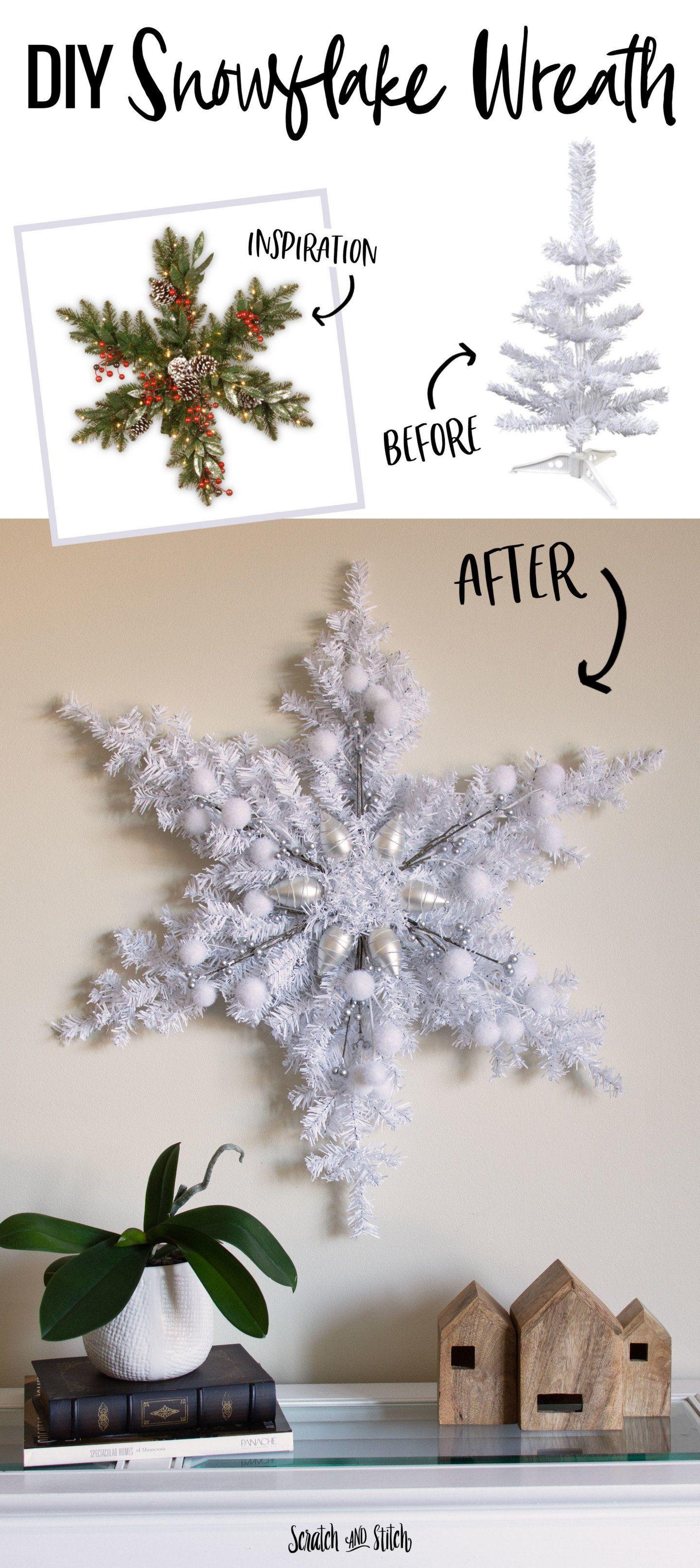 Make This Oversized Snowflake Using Mini Christmas Trees Fo Diy Christmas Decorations Dollar Store Dollar Tree Christmas Decor Christmas Snowflakes Decorations