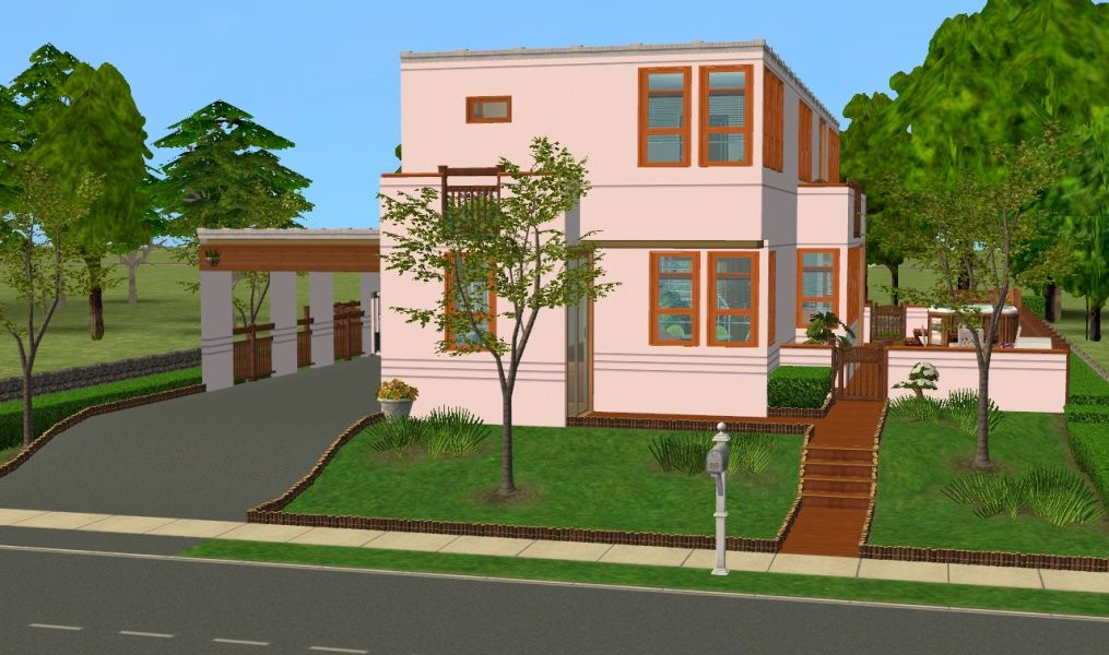 Mod The Sims Compact Minimalist No Cc Sims 2 House House Styles Sims 4 Bedroom