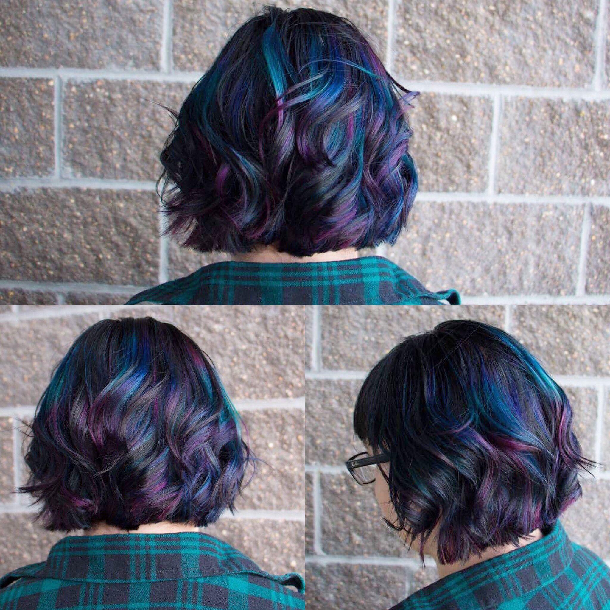Oil slick hair oilslick hair shorthair darkhair coloredhair