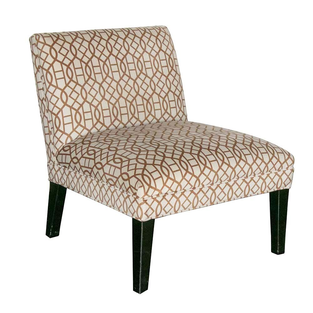 Mitchell gold slipper chair in ivorygold lattice