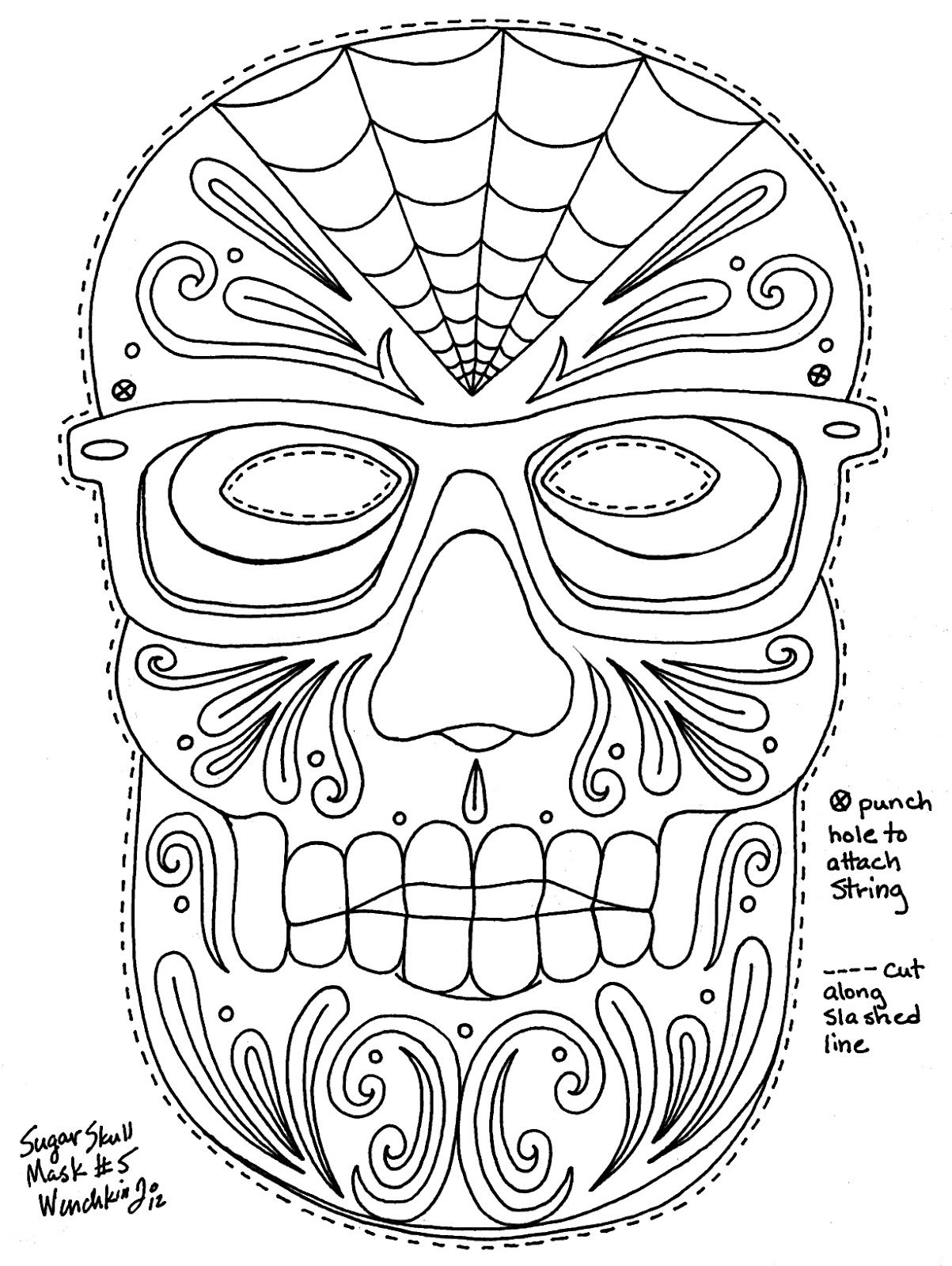 dia de los muertos coloring pages wenchkins coloring pages dia de los hipster skull mask