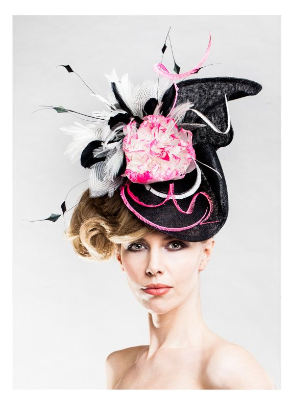 6e4389230ca5f Women s Oversized Hat Fascinator Black White by EllaGajewskaHATS ...