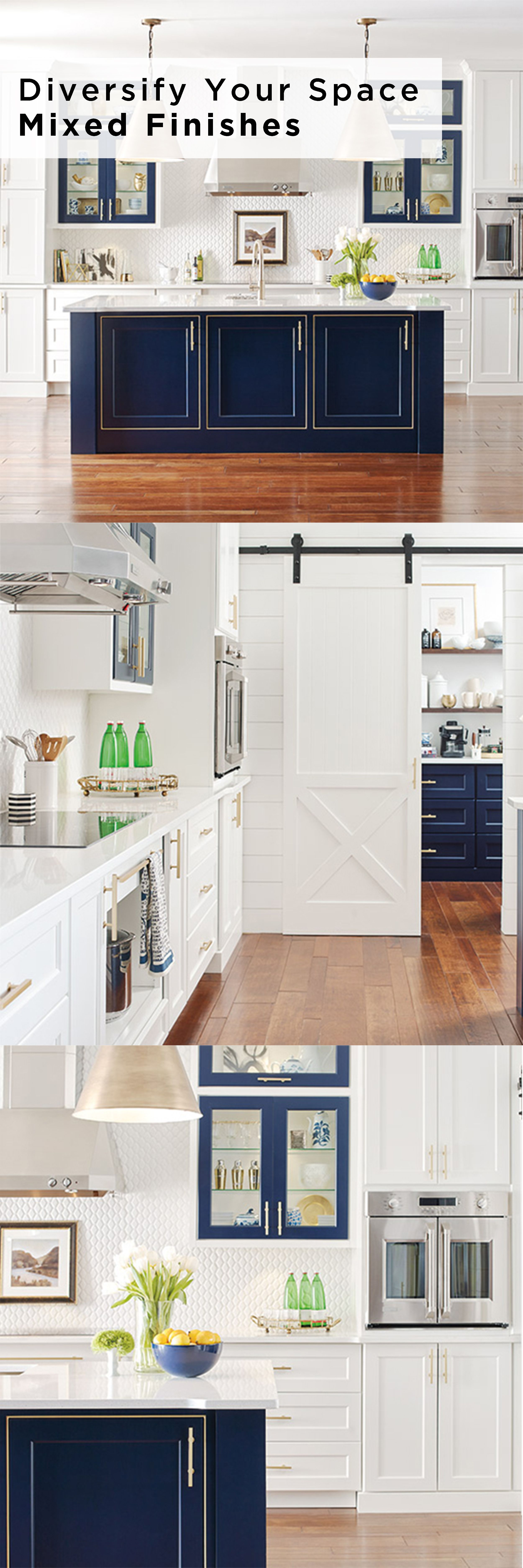 A Mix Of Finishes Showcase The Design Of This Kitchen Renner Door Style Omega Cabinets In A Pure White A Kitchen Design Kitchen Cabinet Styles White Kitchen
