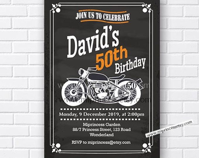 Motorcycle Birthday Invitation For Any Age 30th 40th 50th