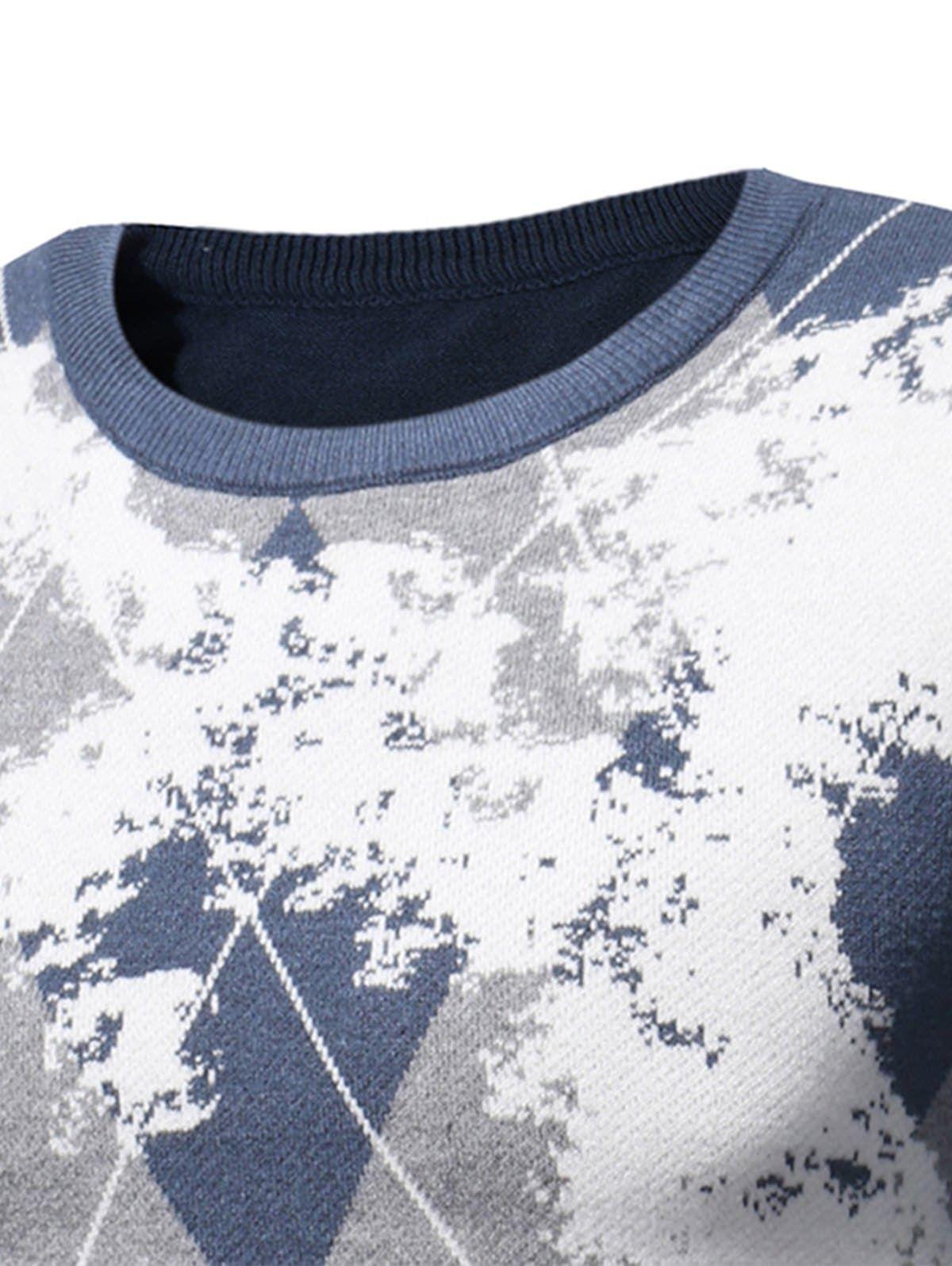 Crew Neck Tartan Tie Dye Print Pullover Sweater BLACK GREEN