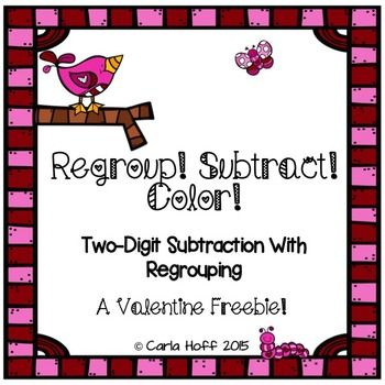 valentine addition subtraction with regrouping freebie valentine 39 s day math ideas fun. Black Bedroom Furniture Sets. Home Design Ideas