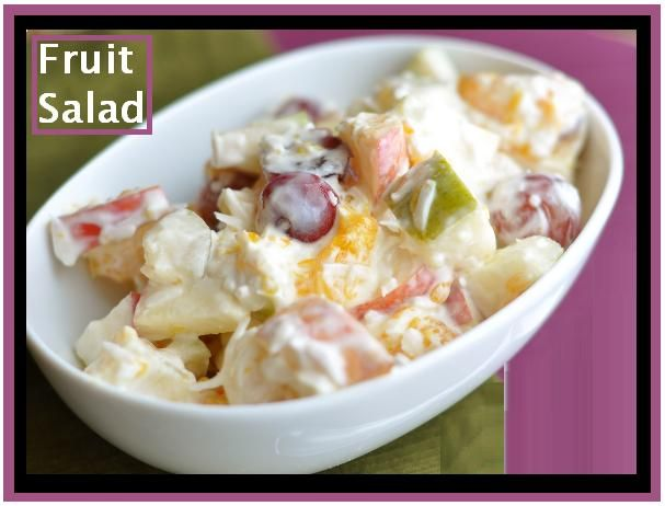 """""""MIL Fruit Salad"""" :: In a large bowl mix together: 1 small can Mandarin oranges (drained),   2-3 bananas cut up, 2 apples Peeled, cored and diced up, 1 cup walnuts chopped up, 1 small can pineapple tidbits (drained, 8 oz of sour cream, 1 cup shredded coconut, 1 cup mini marshmallows.  Stir this all together and chill."""