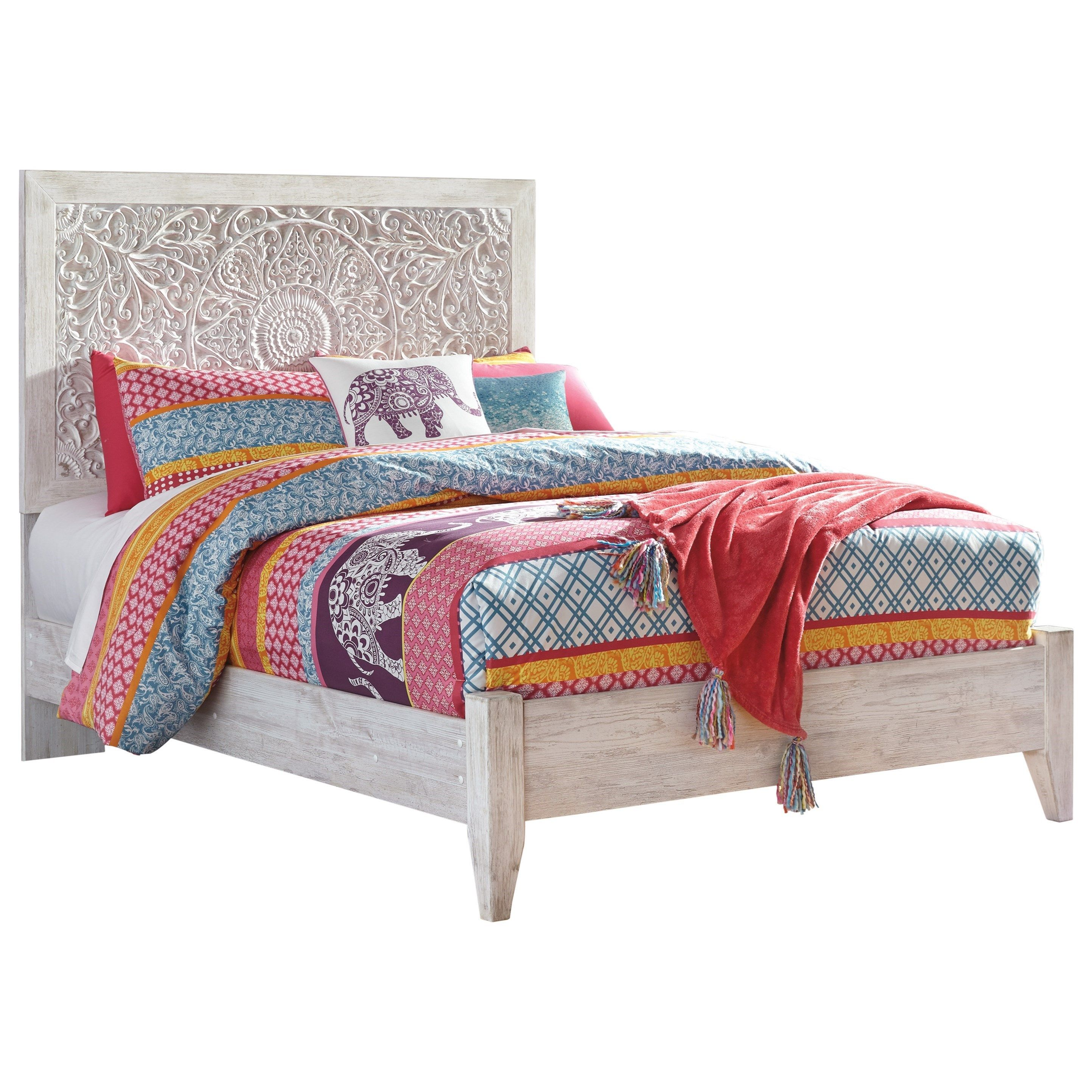 Paxberry Full Panel Bed with Carved Detail Headboard by