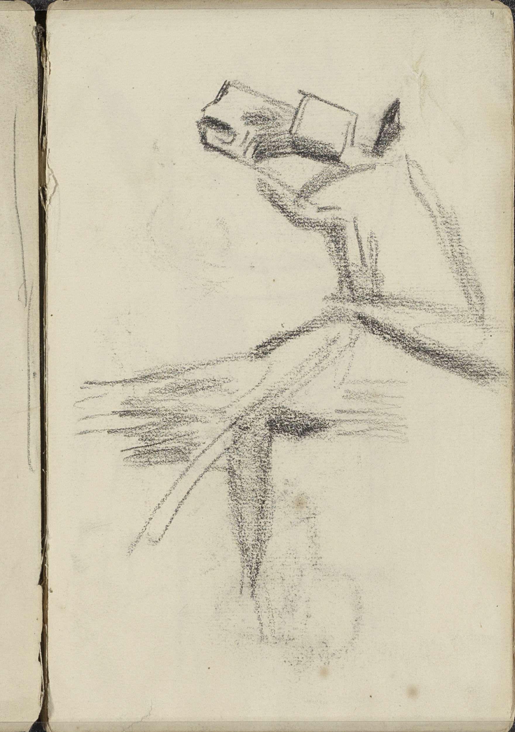George Hendrik Breitner | Paard met oogkleppen, George Hendrik Breitner, 1886 - 1923 | Pagina 4 uit een schetsboek met 13 bladen.