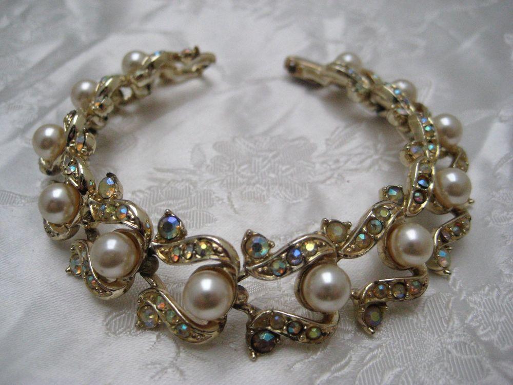 Vintage 1950s Goldtone Faux Pearl & Multi Tone Stone
