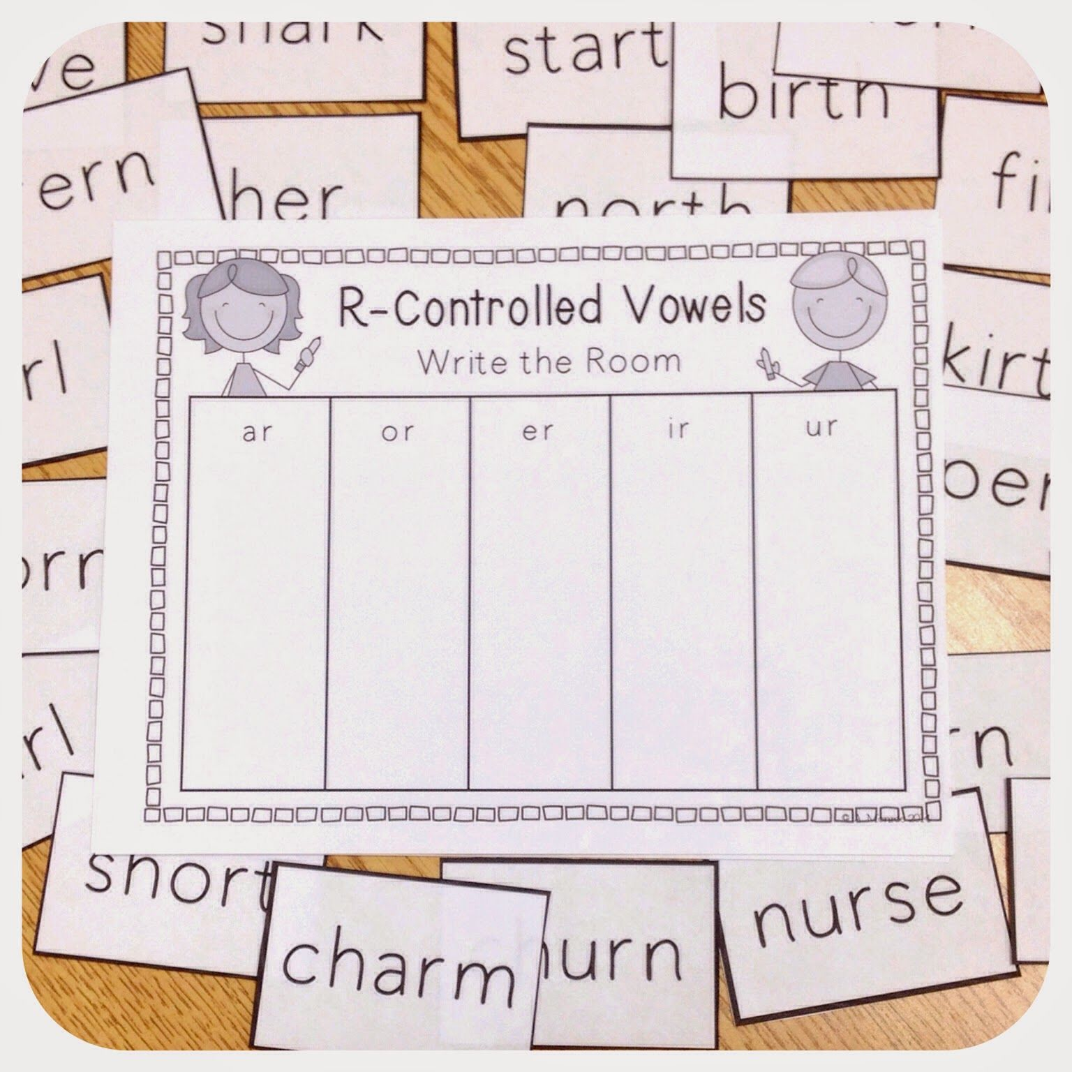 FREE R Controlled Vowels Write the Room Activity   First grade phonics [ 1536 x 1536 Pixel ]
