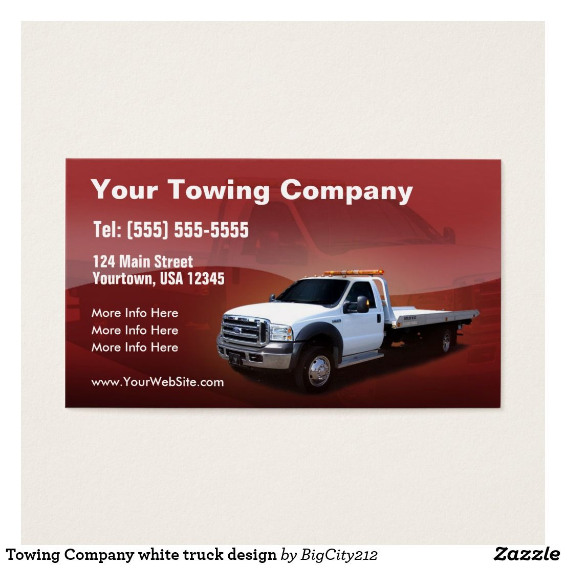 Towing Company white truck design Business Card Zazzle