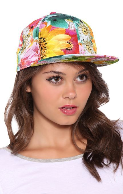 This cute baseball hat features a bright, multicolor floral print. Only $5.00 today