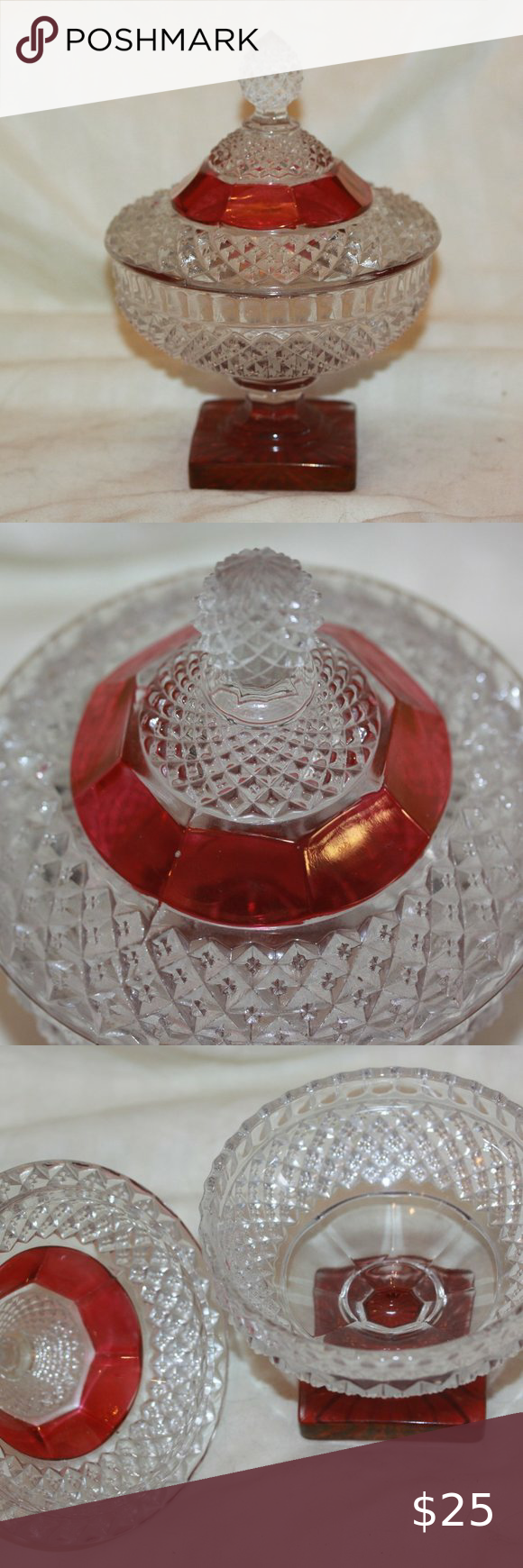 Glass Compote Set of Two Diamond Point Dishes Candy Dish