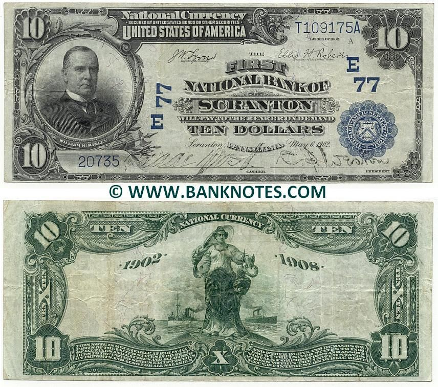Pennsylvania Usa 10 Dollars 1902 1929 National Currency The