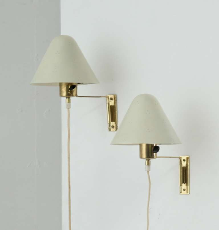 Pair of Paavo Tynell Brass and Metal Wall Appliques