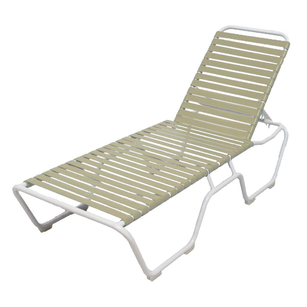Outdoor By Design Marco Island White Commercial Grade Aluminum Vinyl Strap Outdoor Chaise Lounge In Putty 2 Pack Patio Chaise Lounge White Patio Furniture